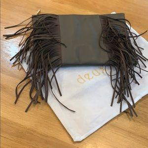 Deux Lux 👛 Fringe Gray Clutch Purse Bag